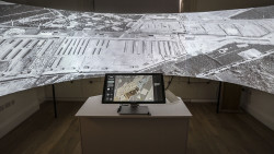 The installation at the Wiener Library, Londen applied a touchscreen interface to control a 180˚panorama of the Bergen-Belsen camp in 1944 and '45.
